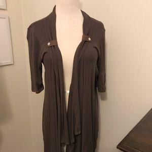 Anthropologie Splendid L brown wrap jacket knit